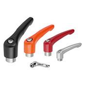 Kipp #10-24 Adjustable Handle, Modern Style, Zinc/Stainless Steel, Internal Thread, Size 0, Black (1/Pkg.), K0123.0A01