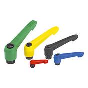 Kipp #10-24 Adjustable Handle, Novo Grip Modern Style, Plastic/Steel, Internal Thread, Size 1, Yellow (1/Pkg.), K0269.1A016