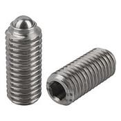 "Kipp 1/2""-13 Spring Plungers, Ball Style, Hexagon Socket, Stainless Steel, Heavy End Pressure (5/Pkg.), K0316.2A5"