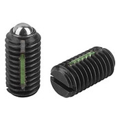 Kipp #10-32 Spring Plungers, LONG-LOK, Ball Style, Slotted, Steel, Standard End Pressure (10/Pkg.), K0321.A1