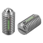 Kipp #10-32 Spring Plungers, LONG-LOK, Ball Style, Slotted, Stainless Steel, Standard End Pressure (10/Pkg.), K0322.A1