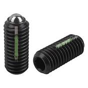 "Kipp 1/2""-13 Spring Plungers, LONG-LOK, Ball Style, Hexagon Socket, Steel, Standard End Pressure (5/Pkg.), K0325.A5"