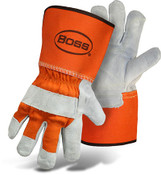 BOSS Double Leather Palm Safety Gloves, Gauntlet Cuff