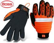 Mechanics Style Miner w/ Padded Back, Synthetic Leather Palm, Adjustable Wrist Strap, Size 2XL (12 Pr.)