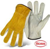 Grain Leather Palm, Split Leather Back Safety Gloves