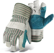 BOSS Double Leather Palm Safety Glove, Gauntlet Cuff