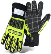 BOSS Insulated Hi-Visibility Slip-On Mechanics Style Cut Resistant Gloves w/ PVC Impact Protection, Size Medium (12 Pair)