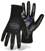 BOSS Assembly Grip Nylon Knit Gloves w/ Nitrile Coated  Palm, Size: 7 (12 Pair)