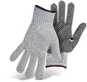BOSS Reversible Gray String Knit Gloves w/ PVC Dotted Palm, Size Large (12 Pair)