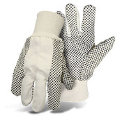 BOSS 8 Oz. Poly/Cotton Canvas Gloves w/ Black PVC Dotted Palm, One Size (12 Pair)