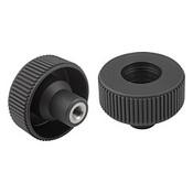 "Kipp 1/2""-13 x 63 mm (D) Novo-Grip Knurled Wheel, Internal Thread, Stainless Steel, Size 3, Style D, No Cap (10/Pkg.), K0261.13A5"