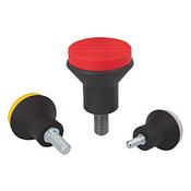 Kipp #8-32 (ID) x 10 mm (L) x 21 mm (D) Novo-Grip Mushroom Knobs, Stainless Steel Bolt, External Thread, Size 1, Red (10/Pkg.), K0251.0AE6X10
