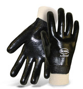 BOSS Fully Coated Black PVC Knit Wrist Smooth Grip Gloves, Large (12 Pair)