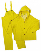 Yellow 35mm PVC Poly Lined 3-Piece Rain Suit, Size: Large (5 Suits/Pkg.)