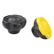 "Kipp 3/8""-16 (ID) x 63 mm (D) Novo-Grip Five Lobe Grips, Stainless Steel Bushing, Internal Thread, Yellow (10/Pkg.), K0255.63A417"