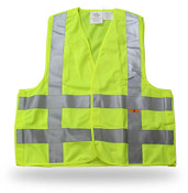Break-Away Fluorescent Green Safety Vest w/ Reflective Tape, Large (Qty. 6)