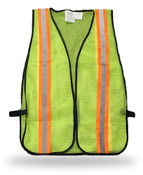 Knit Polyester Fluorescent Green Safety Vest w/ Reflective Tape, Break-Away, One Size (Qty. 12)