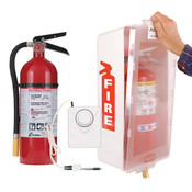 5 lb ABC Pro Line Fire Extinguisher w/ Mark I Jr. Cabinet, White Tub/Clear Cover, and Cabinet Alarm, White