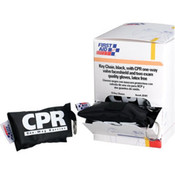 CPR Face Shield w/ Latex-Free 1-Way Valve, 2 Exam Gloves, & Nylon Pouch on Keychain