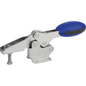 Kipp M8x45 Stainless Steel Horizontal Toggle Clamp with Flat Foot and Adjustable Clamping Spindle (1/Pkg.), K0660.108001