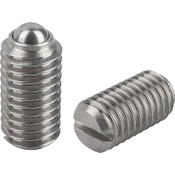 """Kipp 1/4""""-20 Spring Plungers, Ball Style, Slotted, Stainless Steel, Standard End Pressure (25/Pkg.), K0310.A2"""