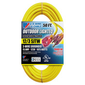US Wire & Cable Yellow Outdoor Lighted Extension Cord, 12/3 SJTW, 50 ft, 74050 (1/Pkg.)