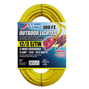 US Wire & Cable Yellow Outdoor Lighted Extension Cord, 12/3 SJTW, 100 ft, 74100 (1/Pkg.)