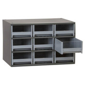 "19 Series Heavy-Duty Steel Storage Cabinet, 9 Drawer (Drawer Dimensions: 5 3/16""W x 3 1/16""H x 10 9/16""D), Gray"