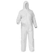 KleenGuard A35 Liquid & Particle Protection Coveralls, Hood, Elastic Wrist & Ankles, Large