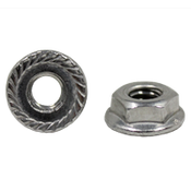 """1/4""""-20 Hex Flange Nuts Serrated 18-8 Stainless Steel (100/Pkg.)"""