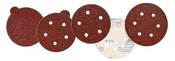 "Aluminum Oxide Red Heavy Discs - Hook and Loop - 6"" x 6 Dust Holes, Grit/ Weight: 120E, Mercer Abrasives 580612 (50/Pkg.)"
