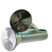 """1/2""""-13x2-1/4"""" Grade 5 Plow Bolts No.3 Head, Full Thread, Zinc (50/Pkg.)"""