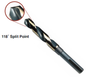 "11/16"" Type 130-AGX, Premium 1/2"" Reduced Shank, Silver & Deming, 3-Flats on Shank,, 118 Degree Split Point Drill Bit, Norseman Drill #74111"
