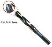 "1-3/16"" Type 130-AGX, Premium 1/2"" Reduced Shank, Silver & Deming, 3-Flats on Shank,, 118 Degree Split Point Drill Bit, Norseman Drill #74351"