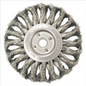 "Knot Wire Wheels - Standard Twist for Right Angle Grinders - Stainless Steel - 4"" x 1/2"" x 5/8"" - 11 (M10 x 1.25,M10 x 1.5), Mercer Abrasives 186520 (6/Bulk Pkg.)"