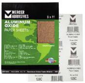 Aluminum Oxide Sandpaper Sheets - 9 x 11 - A-Weight, Grit: 150A, Mercer Abrasives 202150A (100 Sheets/Box)