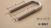 "1/2-13 X 2 1/2"" Chicago U-Bolt Zinc Plated"