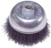 "Crimped Cup Brushes for Right Angle Grinders - Carbon Steel - 2-3/4"" x 5/8""-11 (M10 x 1.25, M10 x 1.5), Mercer Abrasives 188010 (12/Bulk Pkg.)"