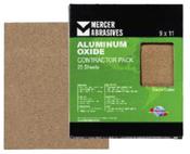 Aluminum Oxide Sandpaper Sheets - Contractor Pack - 9 x 11, Grit: 180A, Mercer Abrasives 230180 (25 Sheets/Box)
