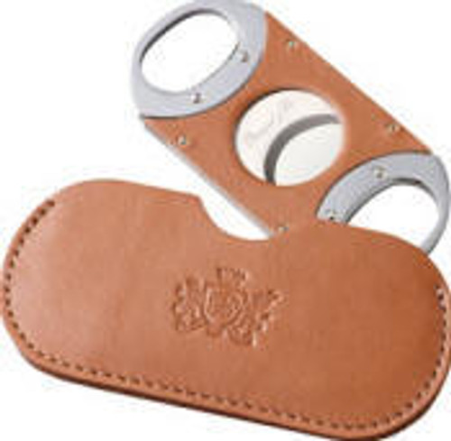 Double Guillotine Tan Leather  Cigar Cutter