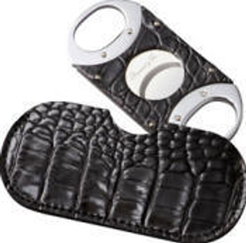Double Guillotine Crocodile Black Cigar Cutter
