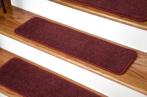 "Dean Premium New Zealand Wool Carpet Stair Treads - Madison Bordeaux (13) 30"" x 9"""