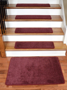 "Dean Premium New Zealand Wool Carpet Stair Treads - Madison Bordeaux (13) 30"" x 9"" Plus a Matching 2' x 3' Landing Mat"