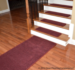 "Dean Premium New Zealand Wool Carpet Stair Treads - Madison Bordeaux (13) 30"" x 9"" Plus a Matching 5' Landing Runner"