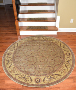 "Dean Premium Carpet Stair Treads - Meadow Green Scrollwork (13) Plus a Matching 5'6"" Round Landing Rug"