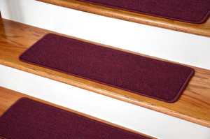 "Dean DIY Peel and Stick Serged Non-Skid Carpet Stair Treads - Mulberry (13) 27"" x 9"" Runner Rugs"