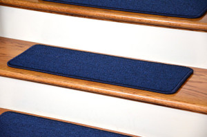 Dean DIY Peel And Stick Serged Non Skid Carpet Stair Treads   Navy Blue (
