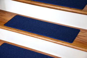 "Dean Non-Slip Tape Free Pet Friendly DIY Carpet Stair Treads/Rugs 27"" x 9"" (15) - Color: Navy Blue"