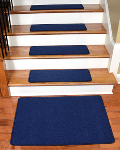 "Dean Serged DIY Carpet Stair Treads 27"" x 9"" - Navy Blue - Set of 13 Plus a Matching 2' x 3' Landing Mat"