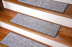 "Dean Indoor/Outdoor Skid-Resistant DIY Carpet Stair Treads - Port Canaveral Gray 27"" x 9"""